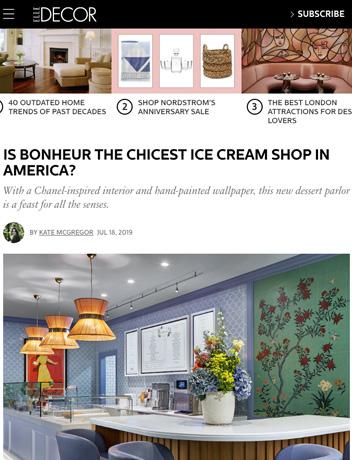 Bonheur in Elle Decor: IS BONHEUR THE CHICEST ICE CREAM SHOP IN AMERICA?