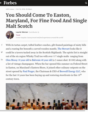 Bluepoint Hospitality in Forbes: You Should Come To Easton, Maryland, For Fine Food And Single Malt Scotch